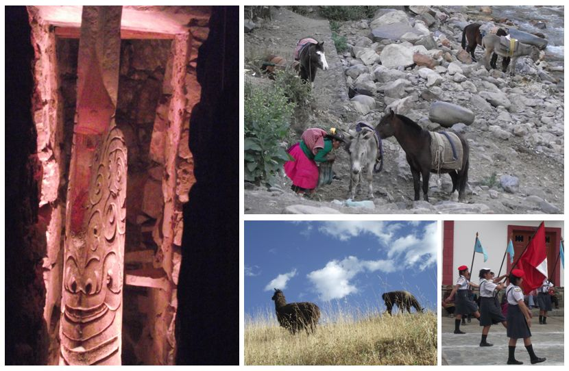 Lanzon in the temple, a local woman with her horses, grazing alpaca, a school parade.